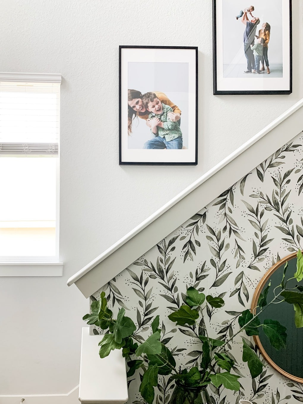 Close up of family photos on staircase
