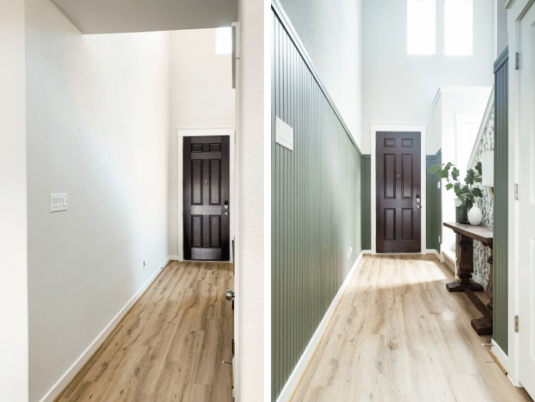 before and after of entry paneling
