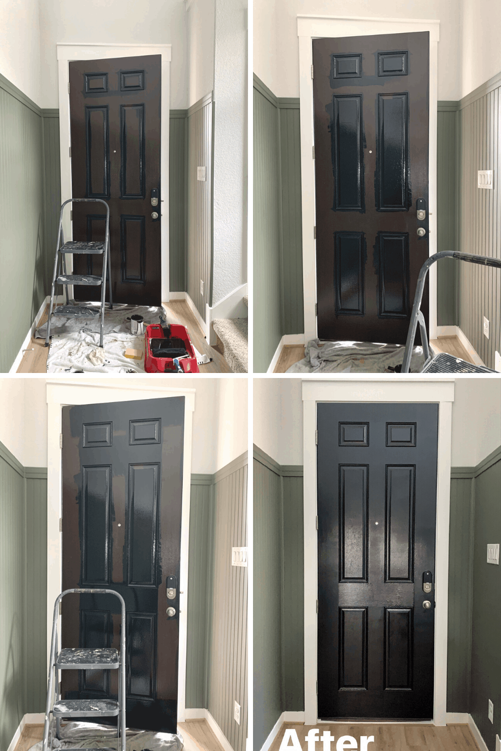 Grid of photos showing the order to paint your front door in