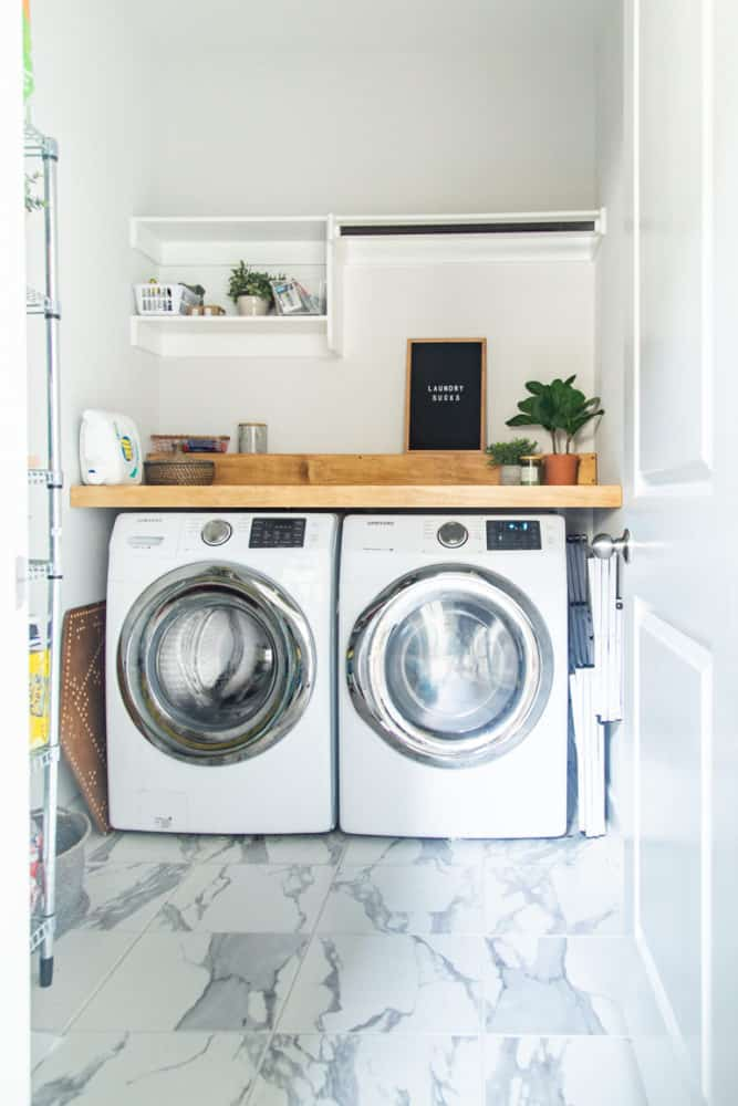 Laundry room with a DIY wood counter