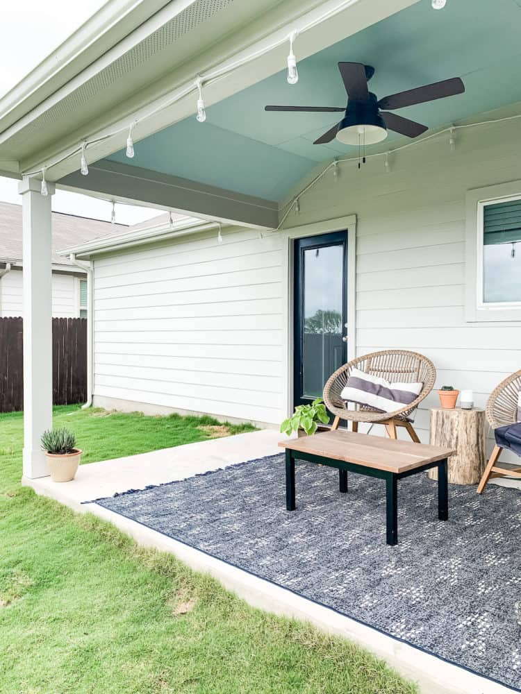 back porch with blue painted ceiling