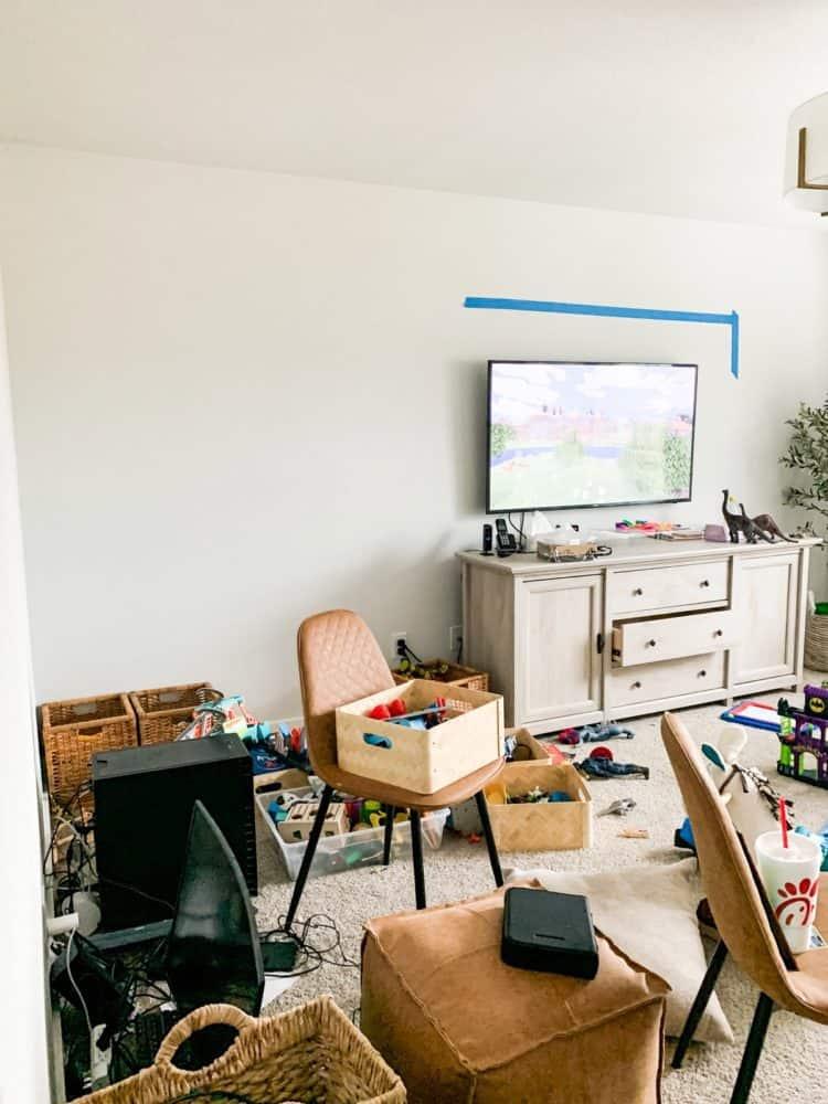 Game room before installing vertical shiplap