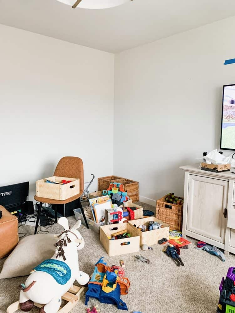 Game room corner before shiplap