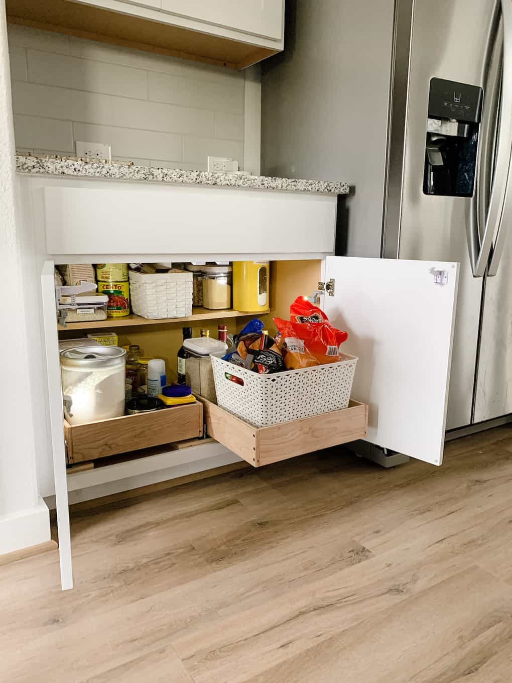 Kitchen cabinet with DIY pull out drawers