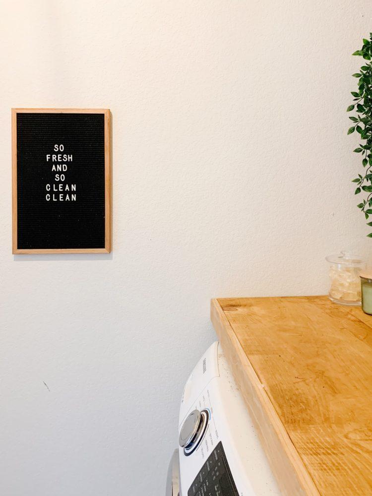 letter board in laundry room