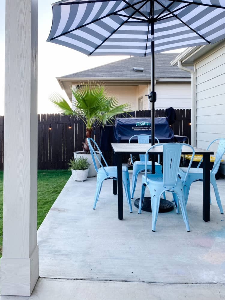 Patio with small seating area