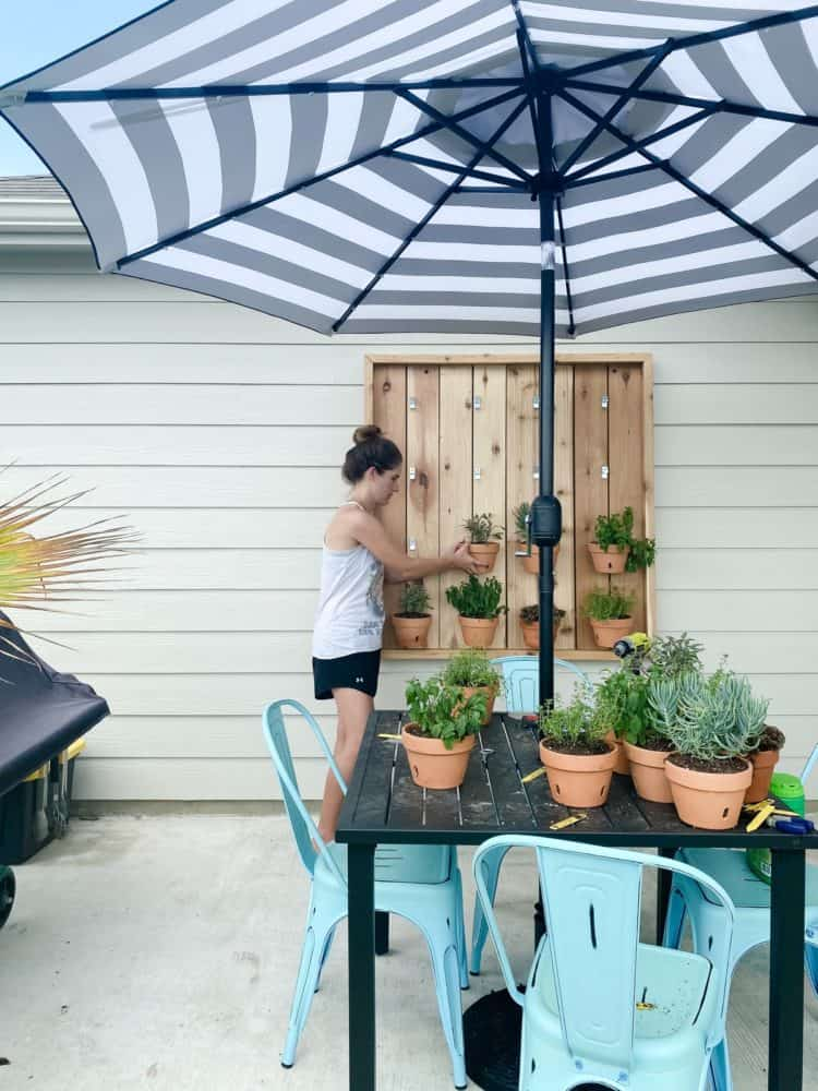 woman hanging plant on an herb garden