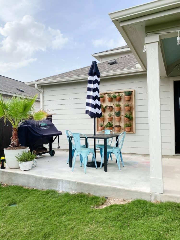 patio with DIY hanging herb garden