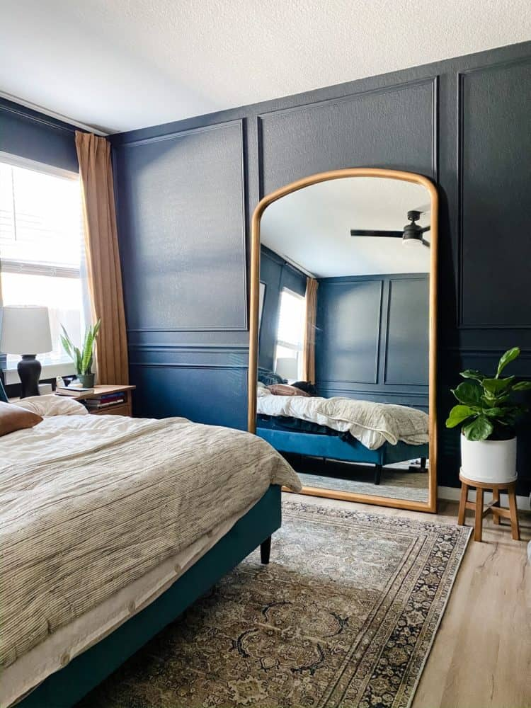bedroom with a small fiddle leaf fig