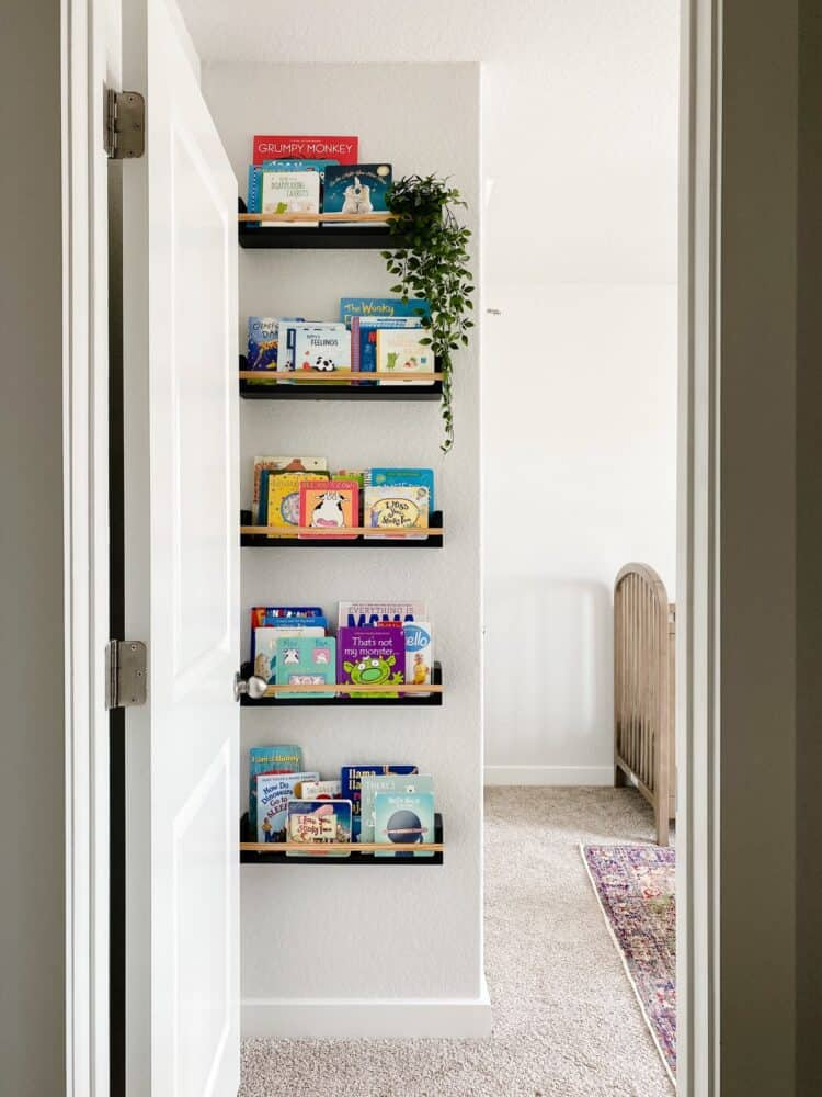 view of DIY book ledges from hallway
