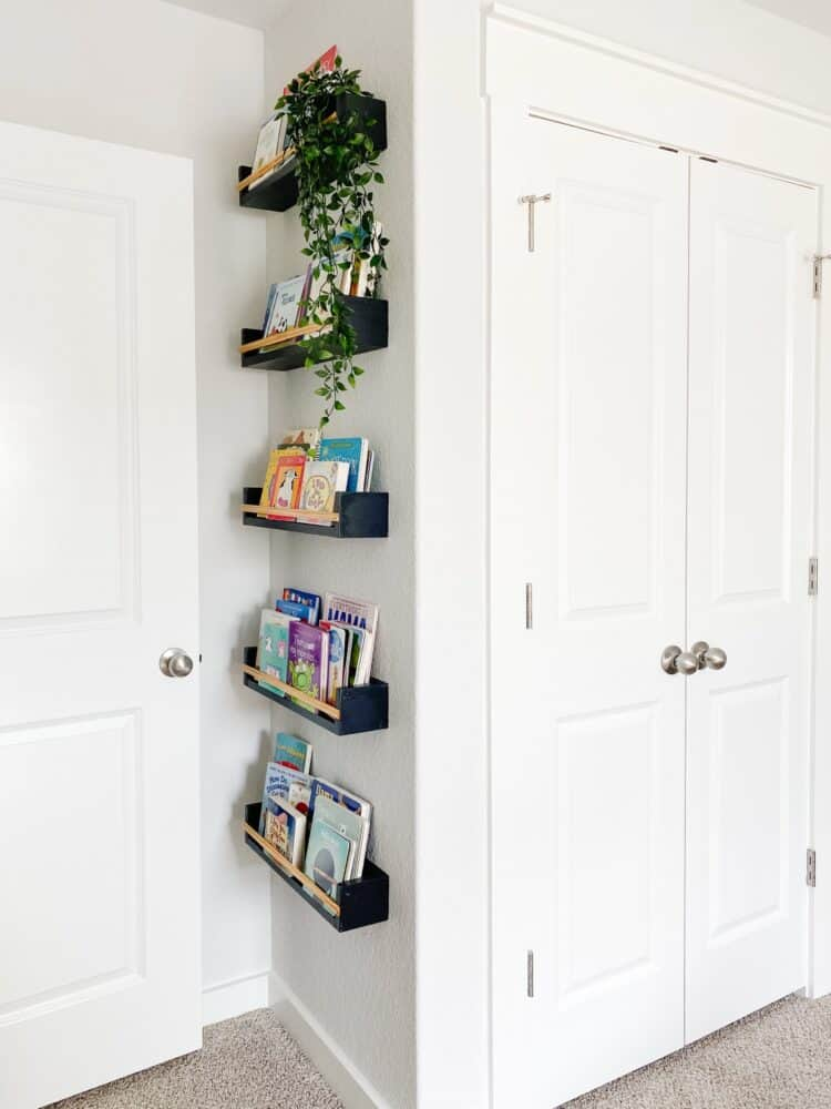 Side view of DIY book ledges