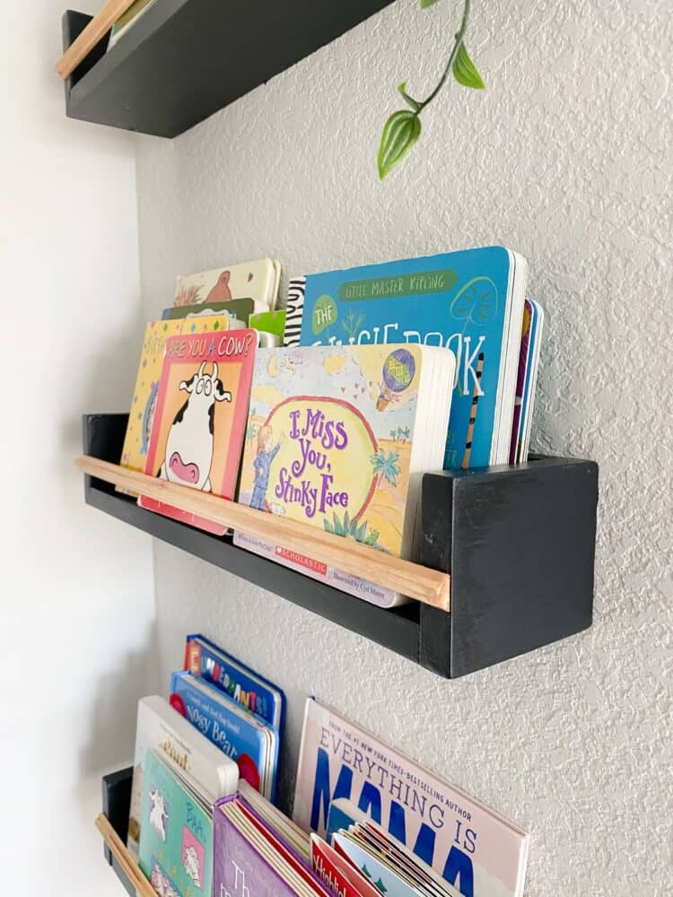 Close up view of DIY book ledges
