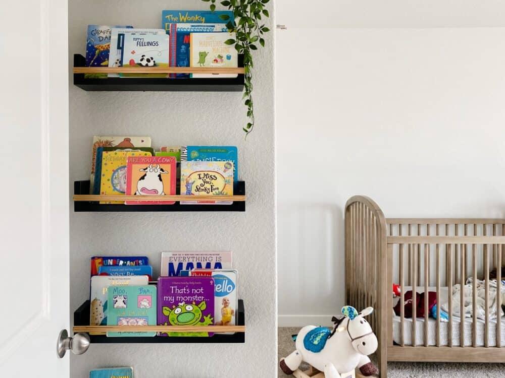 nursery with black book ledges