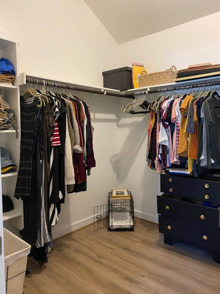 clean closet before makeover