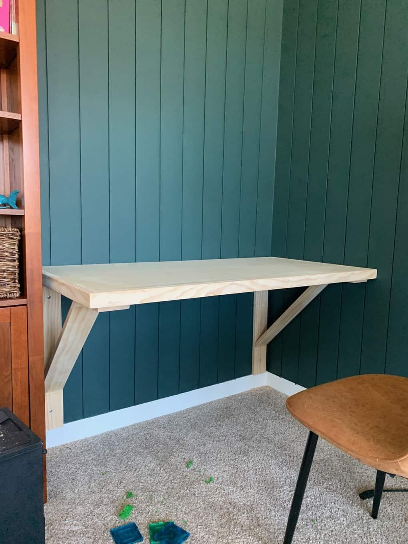 unpainted DIY floating desk