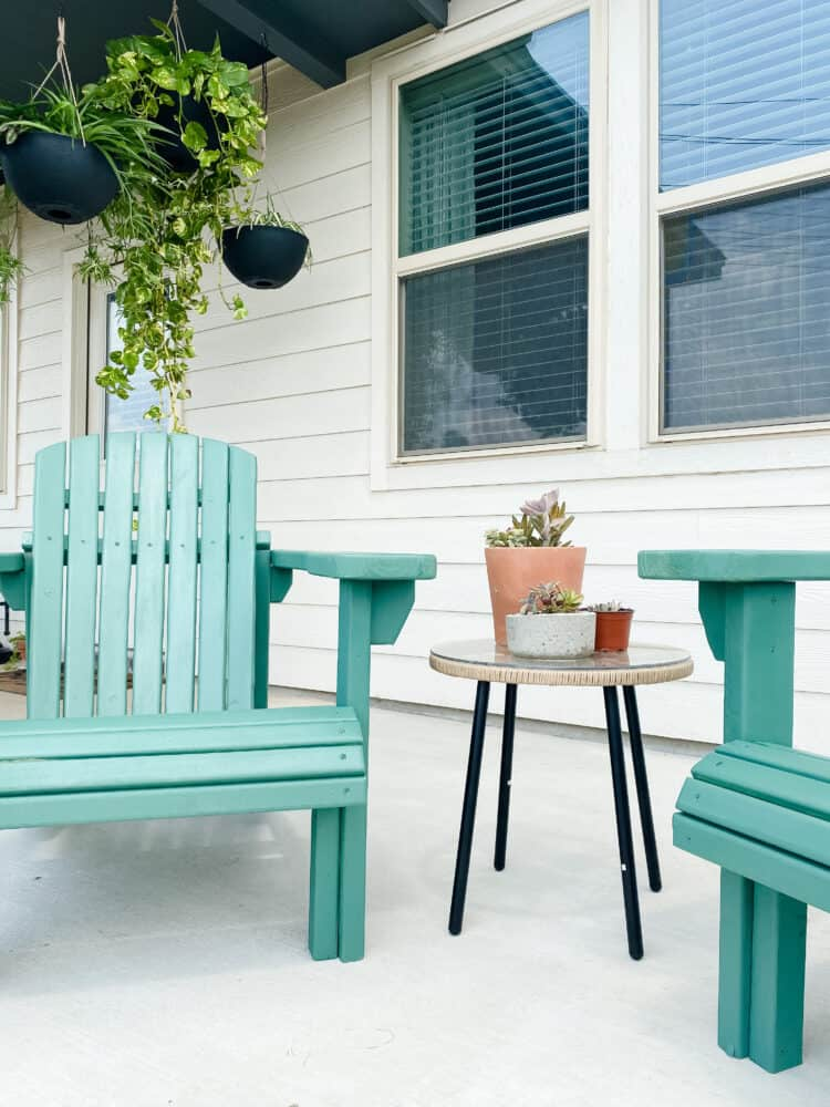 blue Adirondack chairs