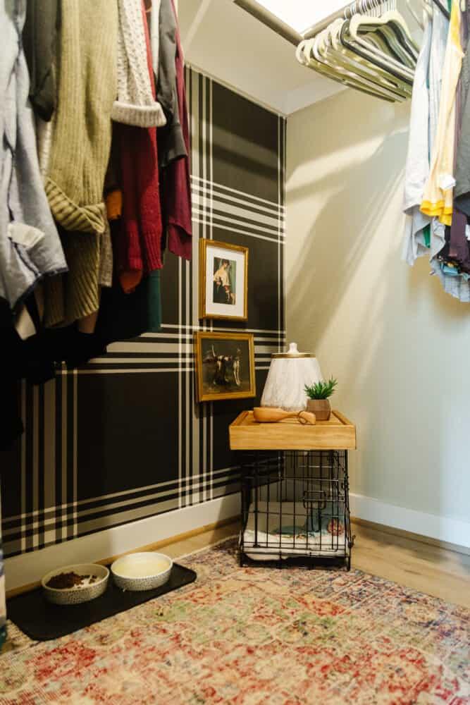 master closet with corner dedicated to puppy