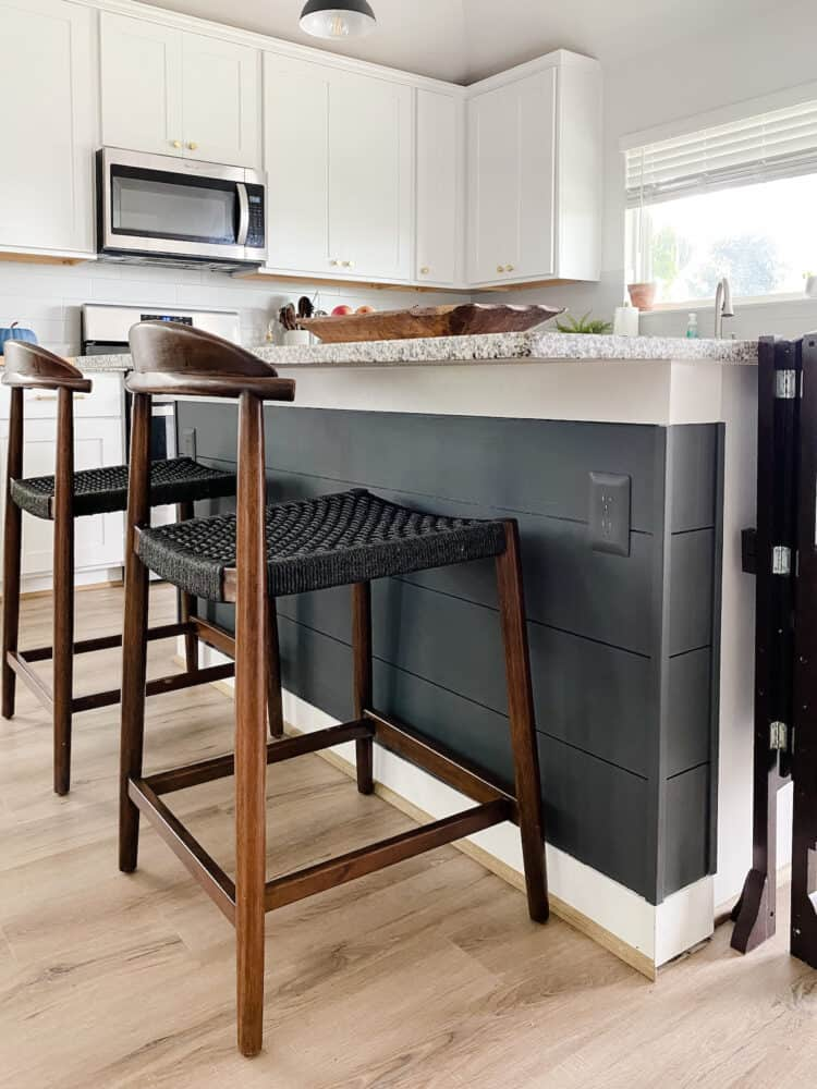 Carbon Copy by Behr kitchen island with paintable outlet covers