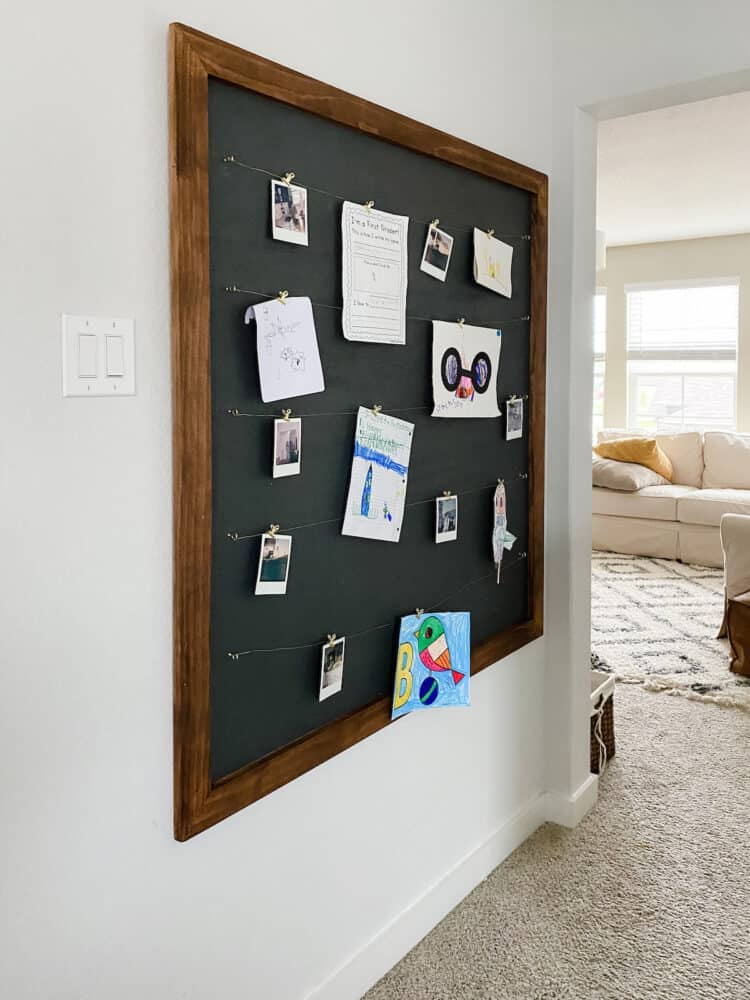 Upstairs landing with a large photo display