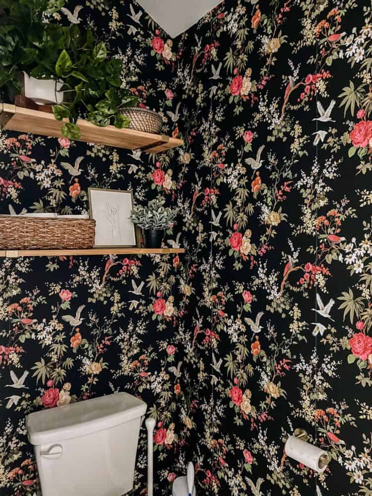 small water closet with shelving above the toilet with faux plants and baskets