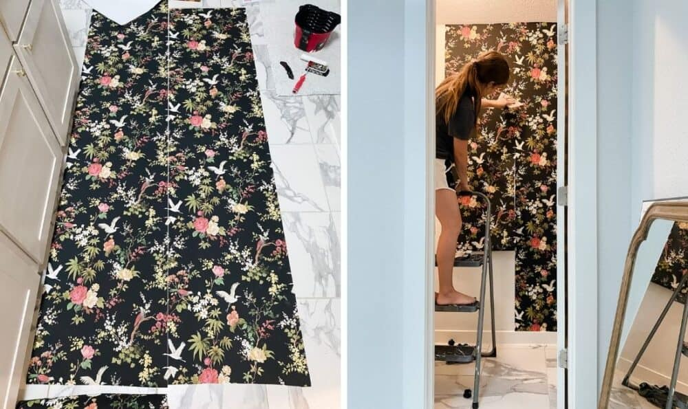 side by side images of wallpapering a toilet room. Image on the left is two strips of wallpaper laying next to each other on the ground. Image on the right is a woman wallpapering a small room