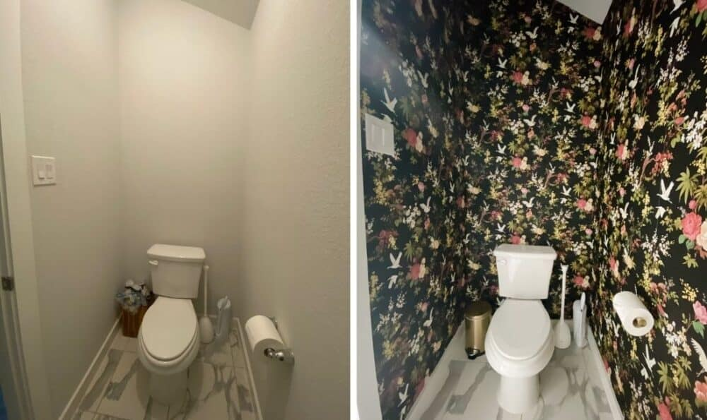 wide angle view of before and after of wallpapered toilet room