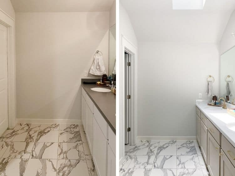 collage of two images, one before having a skylight installed and one after