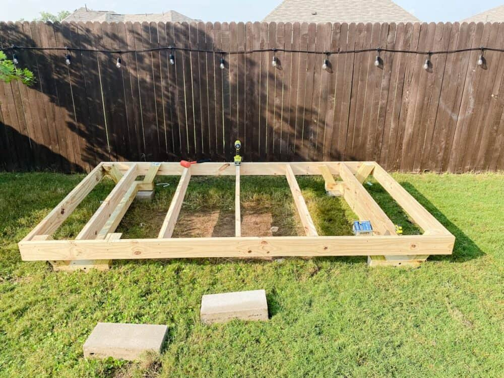 Completed framing for the base of a DIY playhouse