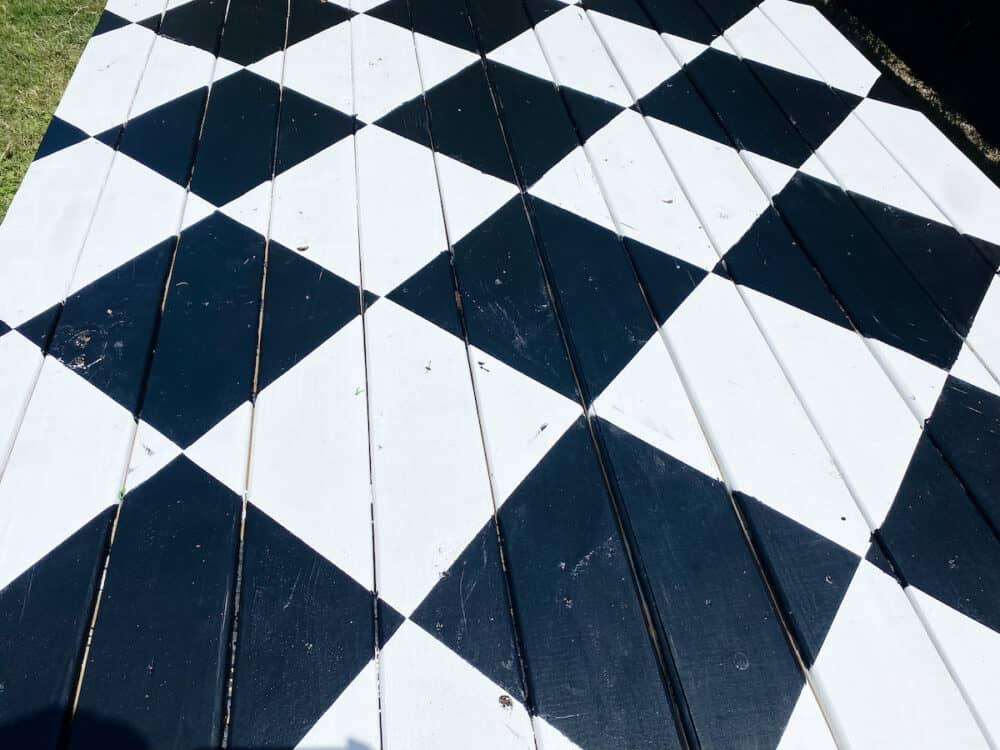 diamond pattern on a wood deck