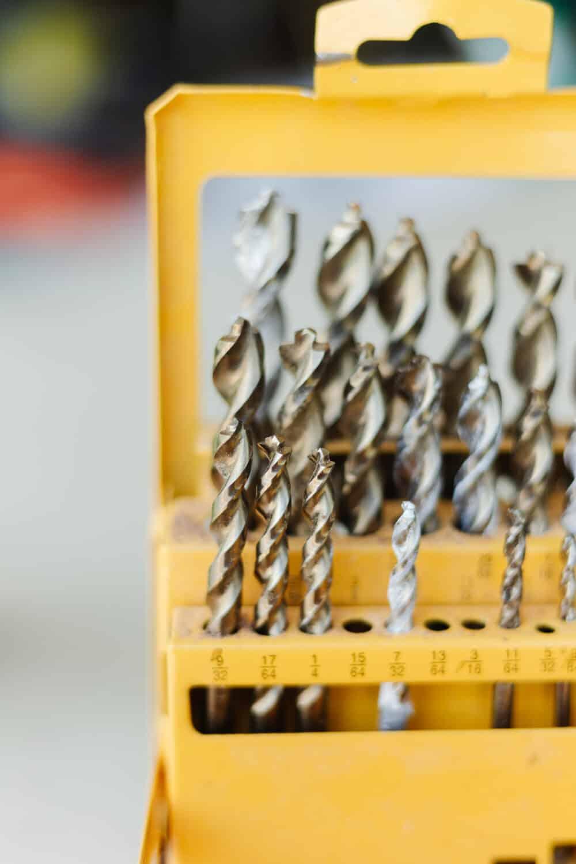 Close up of drill bit set