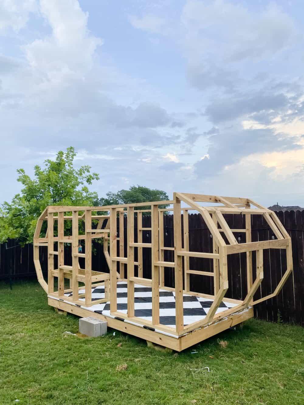 Framing of vintage-style camper playhouse